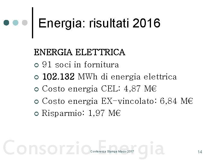Energia: risultati 2016 ENERGIA ELETTRICA ¢ 91 soci in fornitura ¢ 102. 132 MWh