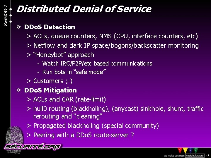 Swi. NOG-7 Distributed Denial of Service » DDo. S Detection > ACLs, queue counters,
