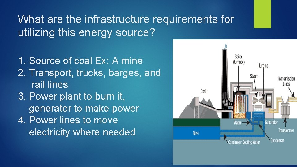 What are the infrastructure requirements for utilizing this energy source? 1. Source of coal