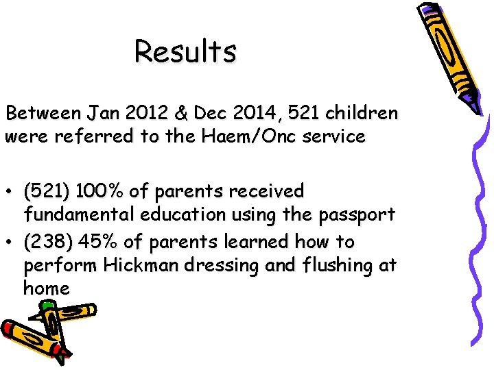 Results Between Jan 2012 & Dec 2014, 521 children were referred to the Haem/Onc
