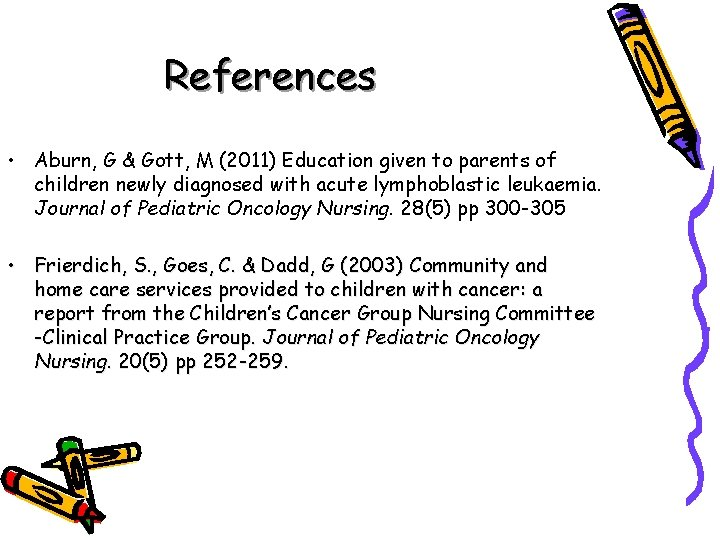 References • Aburn, G & Gott, M (2011) Education given to parents of children