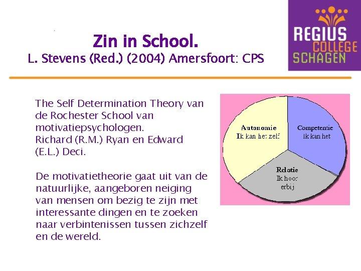 Zin in School. L. Stevens (Red. ) (2004) Amersfoort: CPS The Self Determination Theory