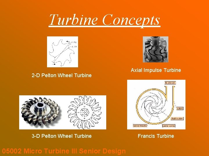 Turbine Concepts 2 -D Pelton Wheel Turbine 3 -D Pelton Wheel Turbine 05002 Micro