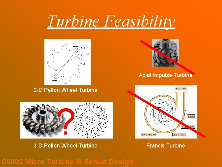 Turbine Feasibility Axial Impulse Turbine 2 -D Pelton Wheel Turbine ? 3 -D Pelton