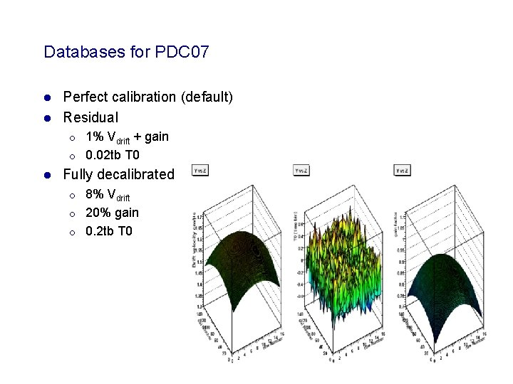 Databases for PDC 07 Perfect calibration (default) l Residual l ¡ ¡ l 1%