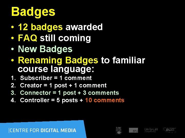 Badges • • 1. 2. 3. 4. 12 badges awarded FAQ still coming New