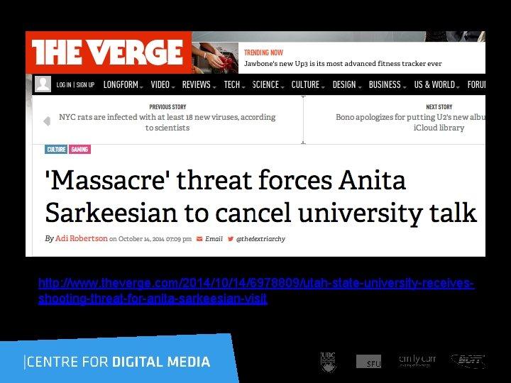 http: //www. theverge. com/2014/10/14/6978809/utah-state-university-receivesshooting-threat-for-anita-sarkeesian-visit