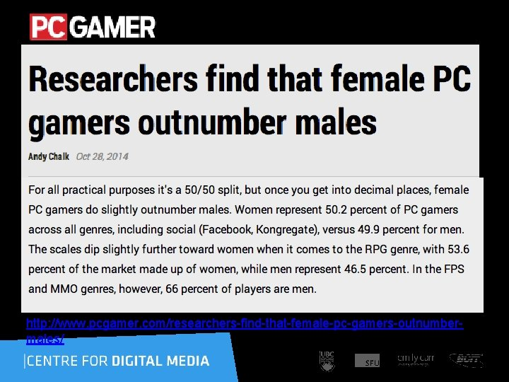http: //www. pcgamer. com/researchers-find-that-female-pc-gamers-outnumbermales/