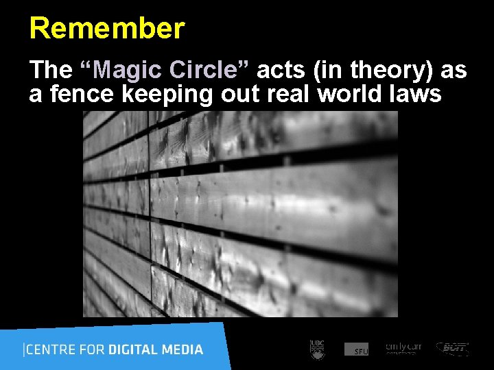 """Remember The """"Magic Circle"""" acts (in theory) as a fence keeping out real world"""