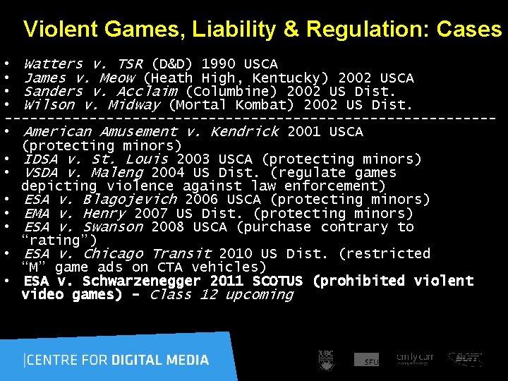 Violent Games, Liability & Regulation: Cases • Watters v. TSR (D&D) 1990 USCA