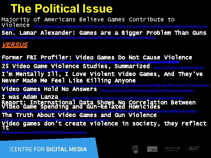 The Political Issue Majority of Americans Believe Games Contribute to Violence http: //www.