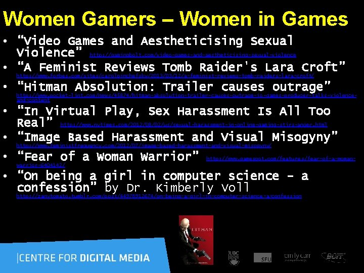 """Women Gamers – Women in Games • """"Video Games and Aestheticising Sexual Violence"""""""