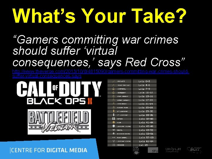"""What's Your Take? """"Gamers committing war crimes should suffer 'virtual consequences, ' says Red"""
