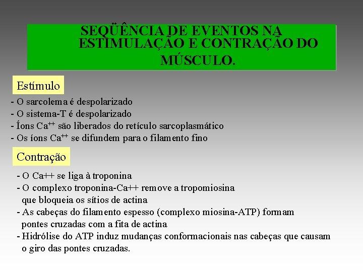 SEQÜÊNCIA DE EVENTOS NA ESTIMULAÇÃO E CONTRAÇÃO DO MÚSCULO. Estímulo - O sarcolema é