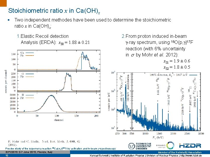 Stoichiometric ratio x in Ca(OH)x § Two independent methodes have been used to determine
