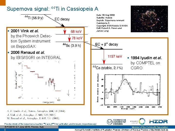 Supernova signal: 44 Ti in Cassiopeia A § 2001 Vink et al. by the