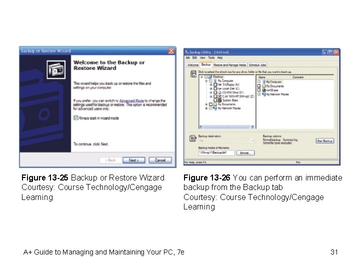 Figure 13 -25 Backup or Restore Wizard Courtesy: Course Technology/Cengage Learning Figure 13 -26