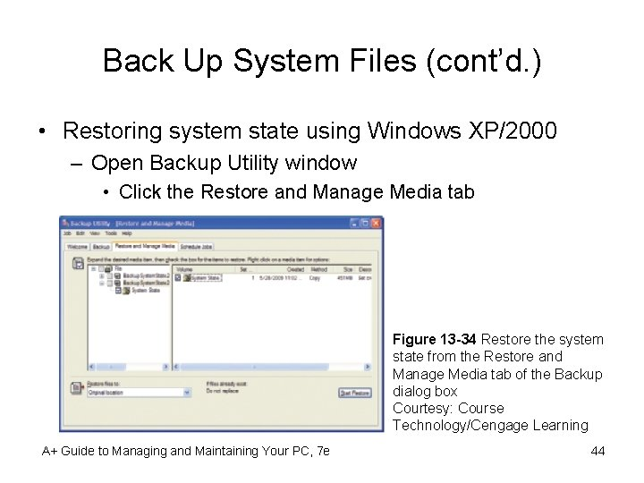 Back Up System Files (cont'd. ) • Restoring system state using Windows XP/2000 –