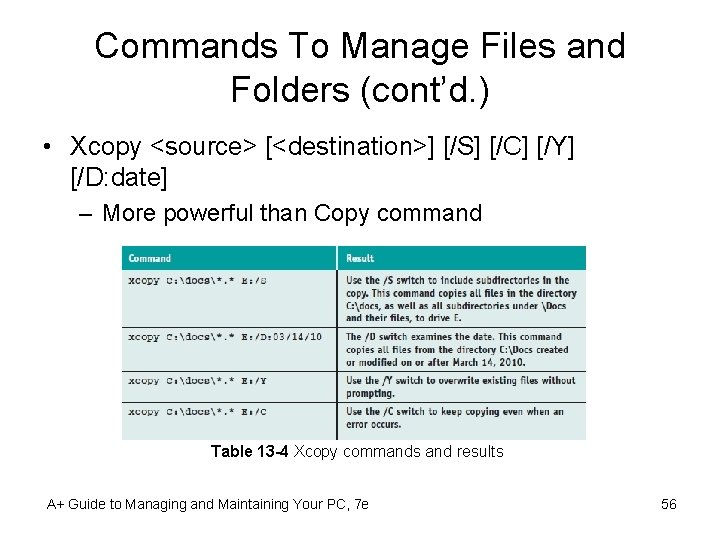 Commands To Manage Files and Folders (cont'd. ) • Xcopy <source> [<destination>] [/S] [/C]
