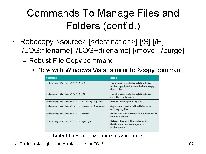 Commands To Manage Files and Folders (cont'd. ) • Robocopy <source> [<destination>] [/S] [/E]