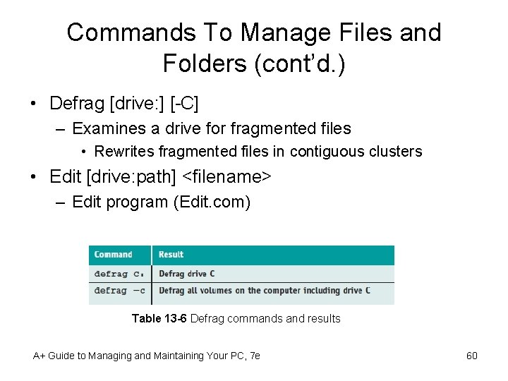 Commands To Manage Files and Folders (cont'd. ) • Defrag [drive: ] [-C] –