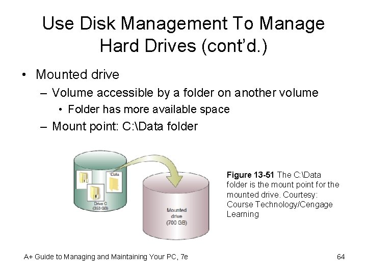Use Disk Management To Manage Hard Drives (cont'd. ) • Mounted drive – Volume