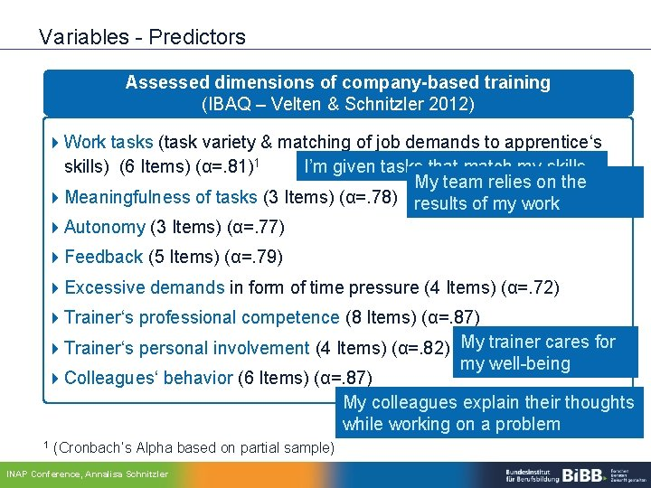 Variables - Predictors Assessed dimensions of company-based training (IBAQ – Velten & Schnitzler 2012)