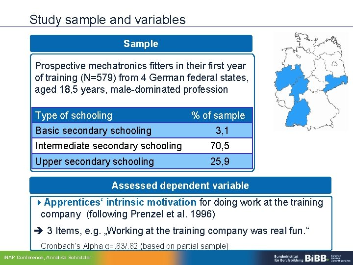 Study sample and variables Sample Prospective mechatronics fitters in their first year of training