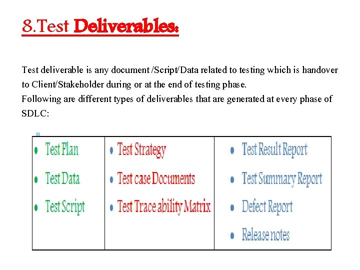 8. Test Deliverables: Test deliverable is any document /Script/Data related to testing which is