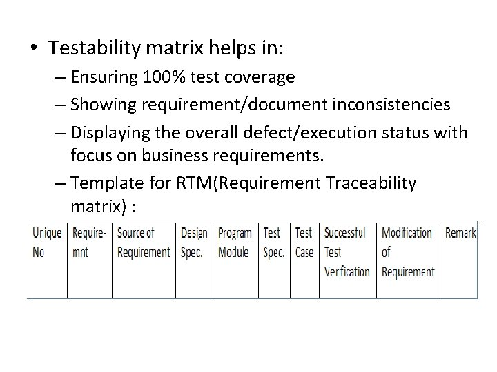 • Testability matrix helps in: – Ensuring 100% test coverage – Showing requirement/document