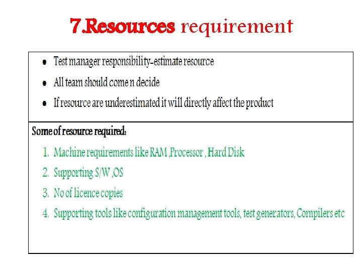 7. Resources requirement