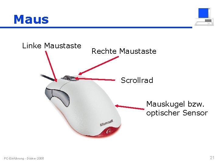 Maus Linke Maustaste Rechte Maustaste Scrollrad Mauskugel bzw. optischer Sensor PC-Einführung - Dücker 2005