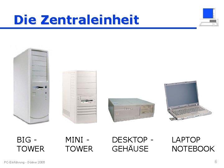 Die Zentraleinheit BIG TOWER PC-Einführung - Dücker 2005 MINI TOWER DESKTOP GEHÄUSE LAPTOP NOTEBOOK