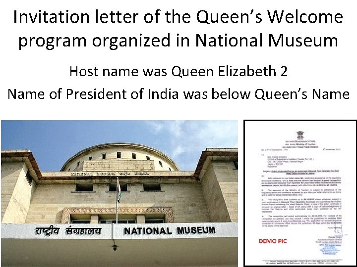 Invitation letter of the Queen's Welcome program organized in National Museum Host name was