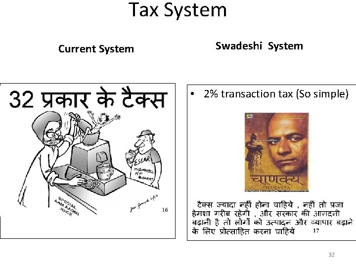 Tax System Current System Swadeshi System • 2% transaction tax (So simple) 32