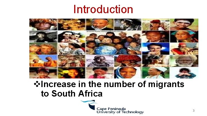 Introduction v. Increase in the number of migrants to South Africa 3