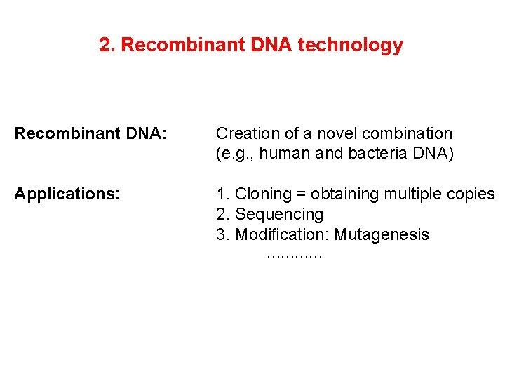 2. Recombinant DNA technology Recombinant DNA: Creation of a novel combination (e. g. ,
