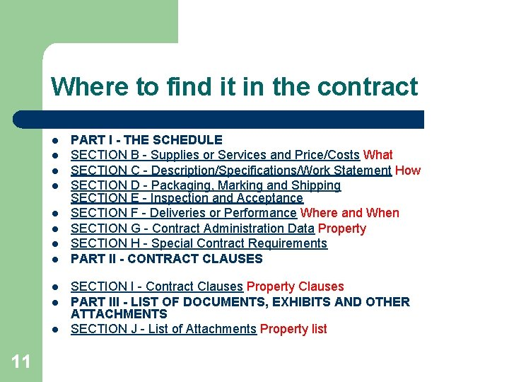 Where to find it in the contract l l l 11 PART I -