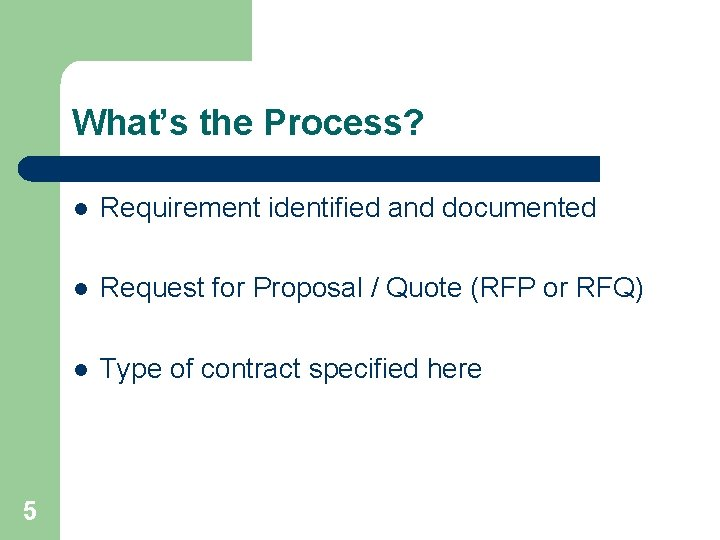 What's the Process? 5 l Requirement identified and documented l Request for Proposal /