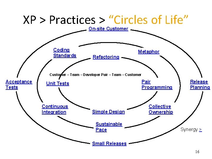 """XP > Practices > """"Circles of Life"""" On-site Customer Coding Standards Metaphor Refactoring Customer"""