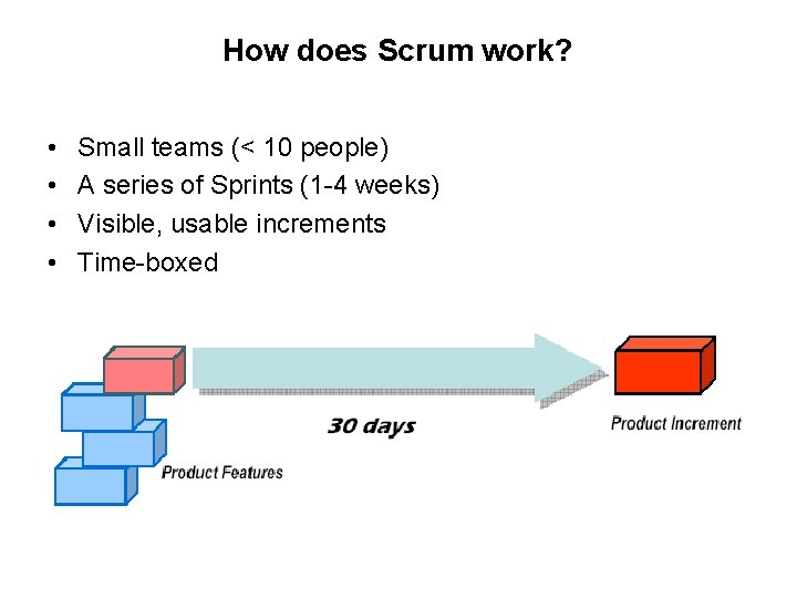How does Scrum work? • • Small teams (< 10 people) A series of