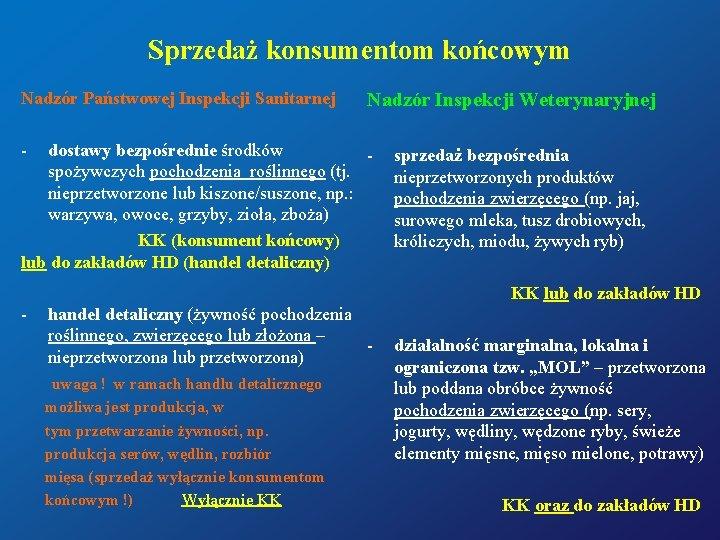 Sprzedaż konsumentom końcowym Nadzór Państwowej Inspekcji Sanitarnej Nadzór Inspekcji Weterynaryjnej - dostawy bezpośrednie środków
