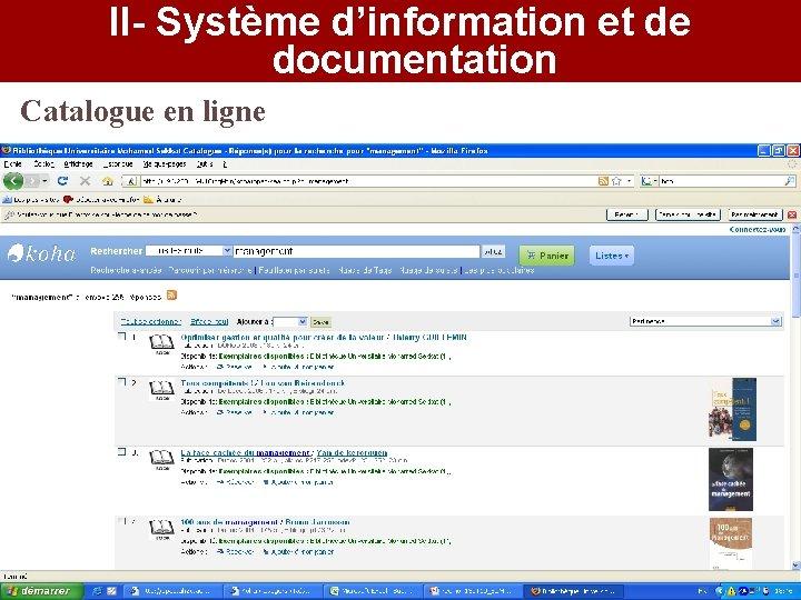 II- Système d'information et de documentation Catalogue en ligne