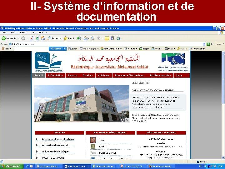 II- Système d'information et de documentation Site web