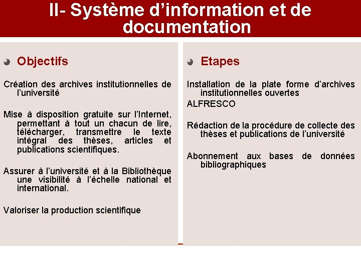 II- Système d'information et de documentation Objectifs Création des archives institutionnelles de l'université Mise