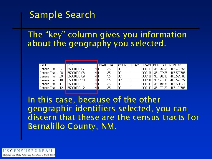 """Sample Search The """"key"""" column gives you information about the geography you selected. In"""