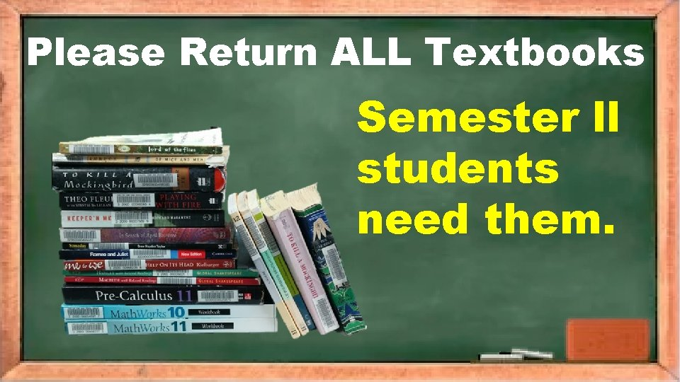 Please Return ALL Textbooks Semester ll students need them.