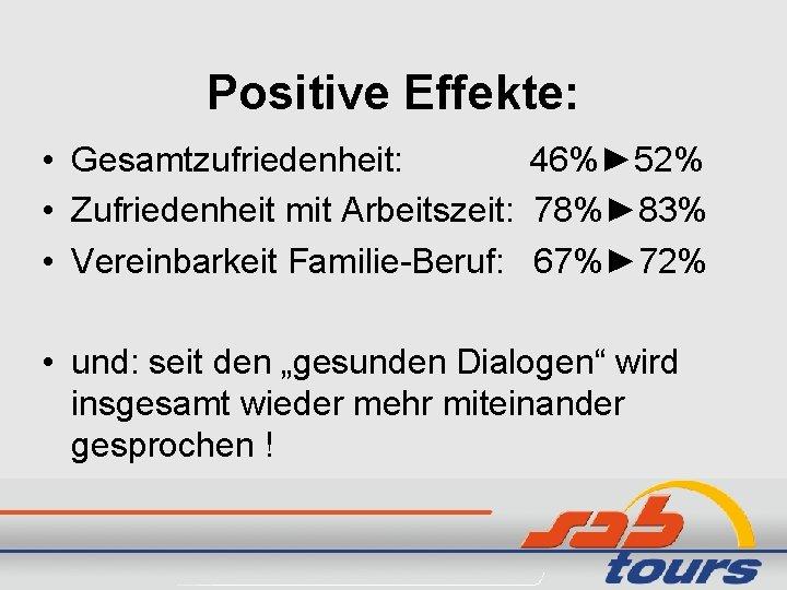 Positive Effekte: • Gesamtzufriedenheit: 46%► 52% • Zufriedenheit mit Arbeitszeit: 78%► 83% • Vereinbarkeit