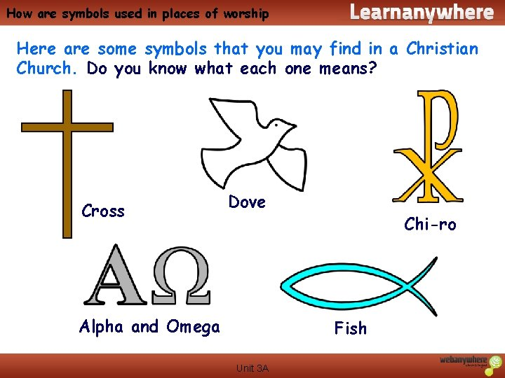 How are symbols used in places of worship Here are some symbols that you