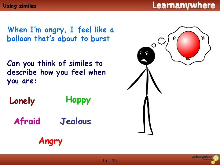 Using similes When I'm angry, I feel like a balloon that's about to burst